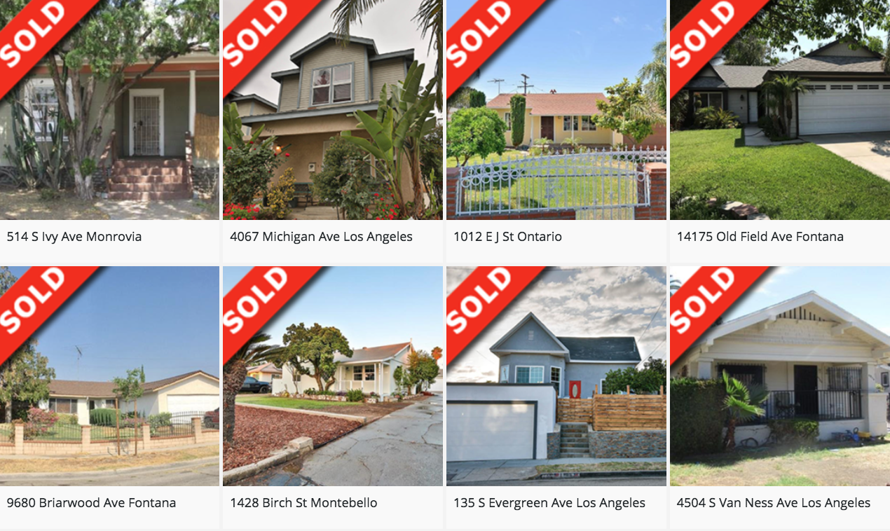 Home page sold listings